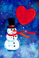 Watercolor Illustration Of A Happy Snowman And Big Red Heart