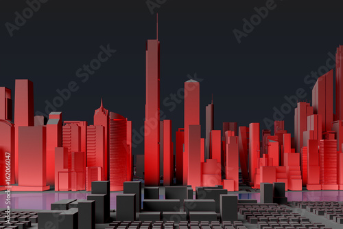Simplified city with red illumination - 162066047