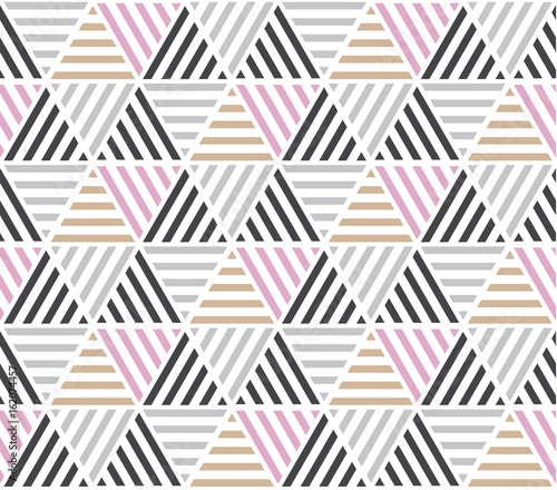 Modern style vector illustration for surface design. Abstract seamless pattern with triangle motif in natural beige and gray colors. - 162074457
