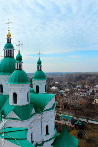 Beautiful church with green domes