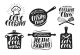 Fototapety Cooking label set. Cook, food, eat, home baking icon or logo. Lettering, calligraphy vector illustration