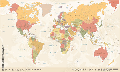 Fototapeta Vintage World Map and Markers - Vector Illustration
