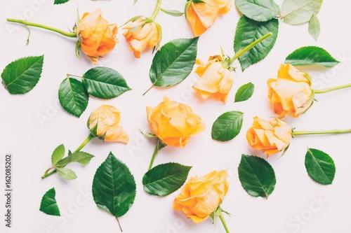 Yellow roses and petals