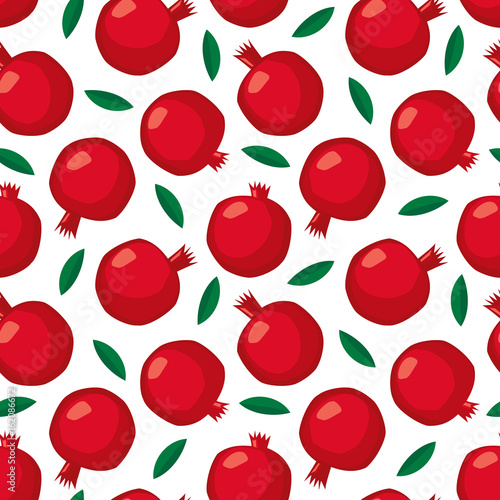 Pomegranate seamless pattern with green leaves on white background. Cute summer fruit illustration. Decorative scandinavian style background. Design for wallpaper, fabric, decor, textile. - 162086672