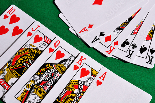 Two combinations of playing cards плакат