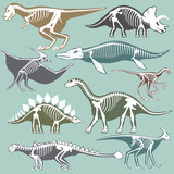 Dinosaurs skeletons silhouettes set fossil bone tyrannosaurus prehistoric animal dino bone vector flat illustration.