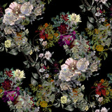 Watercolor painting of leaf and flowers, seamless pattern on dark background - 162101639