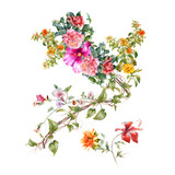 watercolor painting of leaves and flower, on white background - 162101644