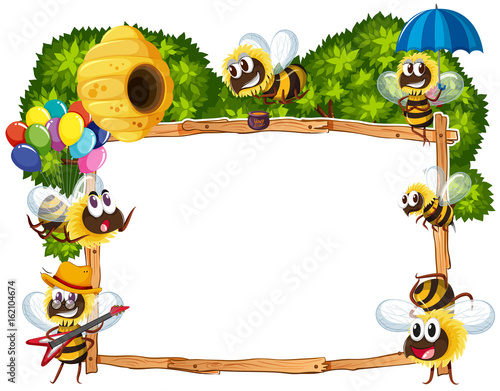 Border template with bees flying