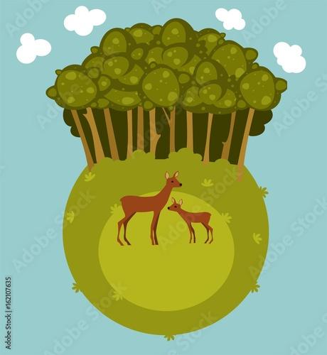 Абстрактное изображение леса с парой оленей на лугу