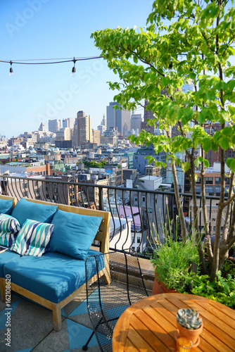 Foto Murales Rooftop with skyline view of NYC