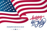 Happy 4th of July USA Independence Day greeting card with waving american national flag and hand lettering text design. Vector illustration. - 162109858