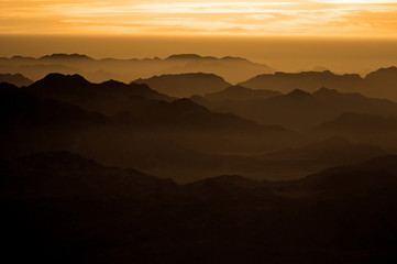 Panorama rocks of holy ground Mount Sinai on the sunrise, Egypt © Gelia