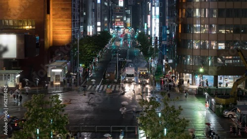 Time lapse of urban landscape, close-up, Car light trail and people walking in rain at night