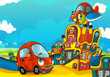 Cartoon sports car smiling and looking in the parking lot and plane flying over - illustration for children