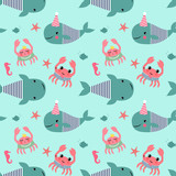Seamless pattern with whales, crabs, seahorses on mint green background. Vector sea background. Child drawing style cartoon baby animals underwater illustration. Design for fabric, textile, decor.