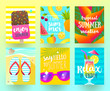 Set of summer holidays and tropical vacation  posters or greeting card. Vector flat design