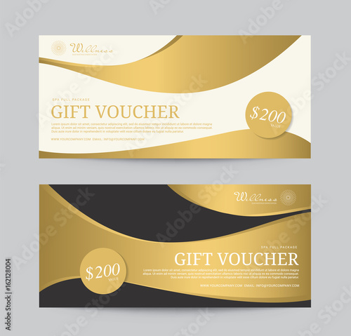 Gold Voucher Wellness Spa Yoga banner template flyer menu cover, vector illustration