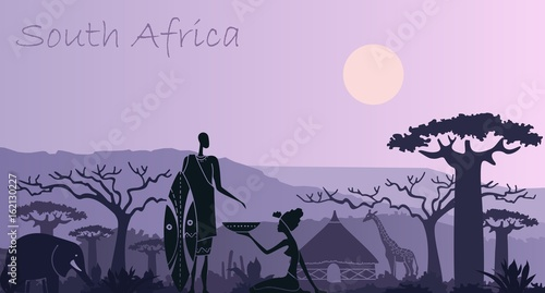Background with landscape of South Africa with animals, a warrior and a woman