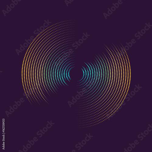 Poster of the sound wave. Vector illustration on dark background