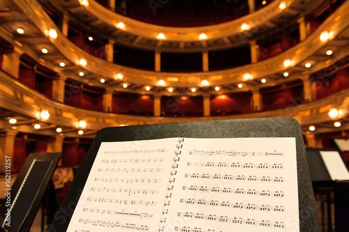 Music score sheet in concert hall close up music concept - 162139257