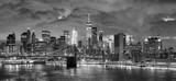 Black and white panoramic picture of New York City at night. © MaciejBledowski