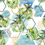 Watercolor tropical leaves and palm trees in geometric shapes seamless pattern - 162148631