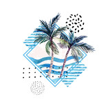 Watercolor palm tree print in geometric shape with memphis elements isolated on white background. - 162148642