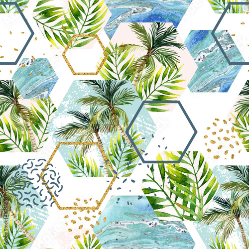 akwarela-tropikalne-liscie-i-drzewka-palmowe-z-geometrycznymi-ksztaltami-powielany-wzor