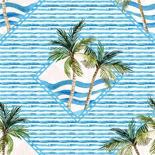 Obraz na Szkle Watercolor palm tree print in geometric shape on striped background.