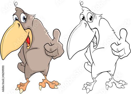 Papiers peints Chambre bébé Illustration of a Cute Raven. Cartoon Character. Coloring Book