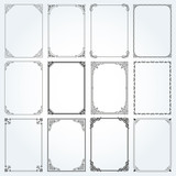 Decorative rectangle frames and borders set vector - 162149805