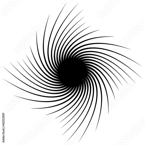 Circular geometric element of radial spokes, lines. Abstract black and white illustration. Geometric circle motif, circle mandala (silhouette, contour version) - 162152809