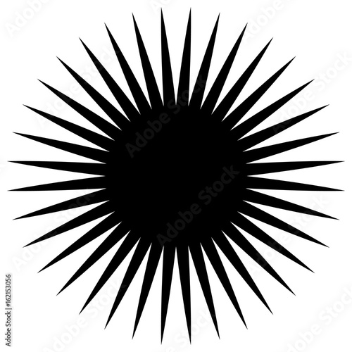 Circular geometric element of radial spokes, lines. Abstract black and white illustration. Geometric circle motif, circle mandala (silhouette, contour version) - 162153056
