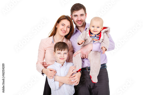 Portrait of  Happy and smiles Family with children and infant on a white backgro Poster