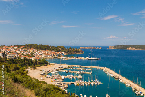 View to Navarino bay and Pylos town marina with boats, Peloponesse, Greece