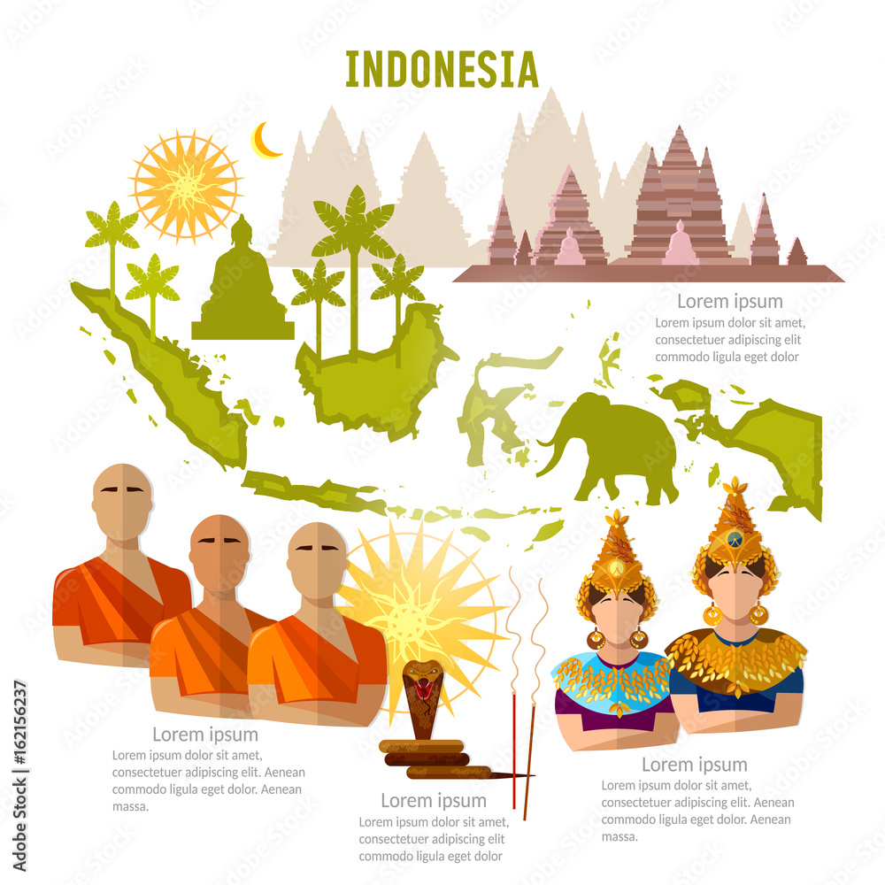 Indonesia Infographics Sights Culture Traditions Map People ...