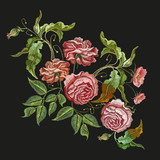 Embroidery wild rose. Classical embroidery blossoming rose buds on black background, template fashionable clothes, t-shirt design, beautiful flowers pattern vector - 162156209