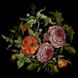 Embroidery peonies and poppies bouquet. Classical embroidery pink peonies and red poppies on black background, template fashionable clothes, t-shirt design, art print - 162156220