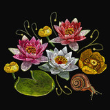 Water lily embroidery. Classical embroidery lotus and water lilies, template fashionable clothes, t-shirt design, print - 162156253