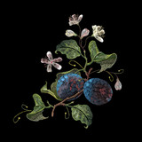 Embroidery plum branch. Classical embroidery blossoming plum on black background, template fashionable clothes, t-shirt design - 162156281