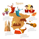 Spain infographics. sights, culture, spanish traditions, map, people. Template Spain elements - 162156283