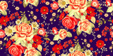 Seamless pattern with pale roses and red flowers on blue background