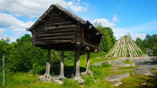 Fotobehang Stockholm Hut in Skansen Park