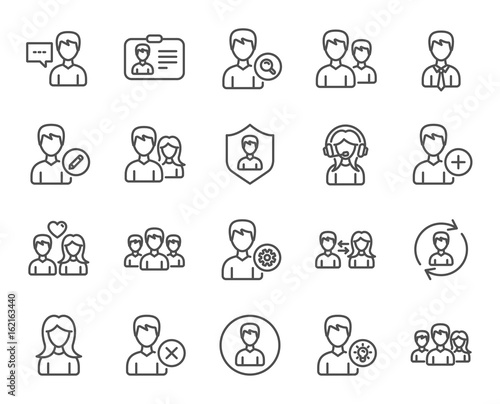 Users line icons. Male and Female Profiles, Group and Support signs. ID card, Teamwork and Businessman symbols. Couple love, Security and Human Management. Quality design elements. Editable stroke