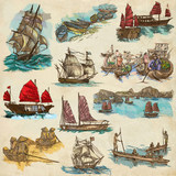 An hand drawn full sized collection, pack of Boats and Ships. Isolated on paper. - 162166018