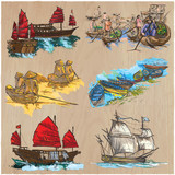 Boats - An hand drawn colored vector pack. Line art. - 162167674