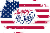 Happy 4th of July Independence Day greeting card with american flag brush stroke background and hand lettering text design. Vector illustration. - 162168654