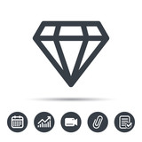 Diamond icon. Jewelry gem symbol. Brilliant jewel sign. Calendar, chart and checklist signs. Video camera and attach clip web icons. Vector