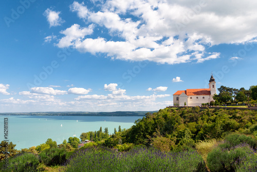 The beautiful Tihany Benedictian Abbey with the Lake Balaton, Hungary Poster